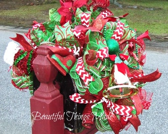 Extra Large, Deluxe Christmas Mailbox Swag, mailbox topper, Deco mesh, mailbox cover, custom made, ready to ship,