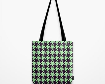 Houndstooth Tote Bag Mint Green Tote Bag Mint Green Houndstooth Bag Mint Green Houndstooth Tote Bag