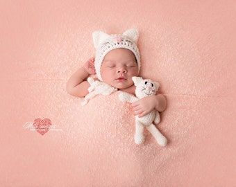 white cat bonnet, hat , bonnet kitty toy, kitty toy , cat toy newborn photo prop