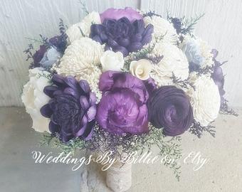 Plum Orchid Silver Sola Bouquet, Plum Burlap Bouquet, Burlap Lace, Alternative Bouquet, Bridal Accessories, Keepsake Bouquet, Wedding, Sola