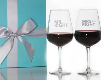 Mr. Right and Mrs. Always Right Wine Glass Set / Red Wine Glass / White Wine Glass / Wedding Gift / Couples Gift / Packaged in Gift Box