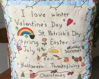 Embroidered Holiday Pillow , Whimsical Holidays and Seasons Decorative Pillow , Hand Embroidered Room Accent