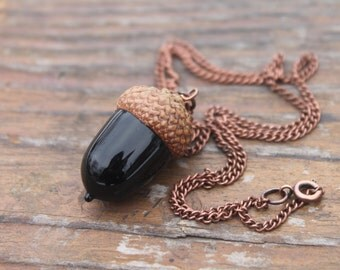 Glass Acorn Necklace, Peter's Kiss, Peter Pan Jewelry, Autumn Jewelry, Long Layering Acorn Necklace