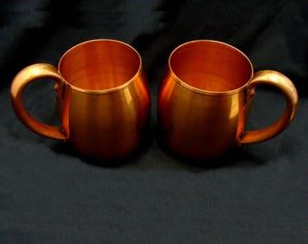 Vintage copper mugs - old copper cups - west bend copper cups lot - two copper cups - mid century modern cups - mid century copper mugs