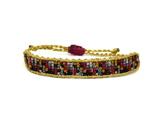 """Gypsy style """"mosaic"""" bangle beaded bracelet gold"""