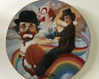 """Vintage Porcelain Hackett American Clown Plate by Chuck Oberstein - Wonderful World of Clowns Collection """"RAINBOW'S END"""" 