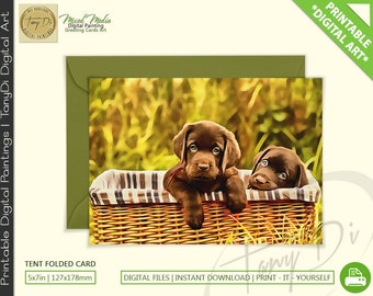 Cute Puppies in a Basket • Brown Sweet Labrador babies • Painted Greeting Printable Card, Animals card, Dog Lover, 5x7in Card Small wall art