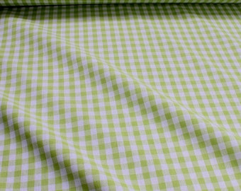 Fabric pure cotton gingham lime green white 1 cm x 1 cm