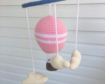 READY TO SHIP: Hot Air Balloon Baby Mobile/ Balloon and Clouds Baby Mobile