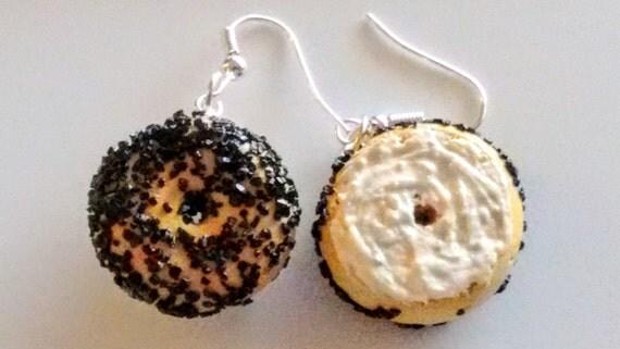 Poppy Seed Bagel and Cream Cheese Earrings - Miniature Food Jewelry - Bagel Earrings - Inedible Jewelry - Kawaii Jewelry, Fake Food Jewelry