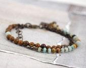 Amazonite bracelet. Multi stone bracelet. Brown stone jewelry. Rustic jewelry. Multistrand bracelet. Cowgirl bracelet. Aqua stone jewelry.