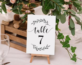 Printable Table Number Set 1-45 - Rustic Laurel Wedding Cards with Script text - Instant Digital Download - PDF Format - 4x6 Inches -#GD0108