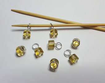 Knitting stitch markers, set of 8, CYLINDERS, yellow, handmade