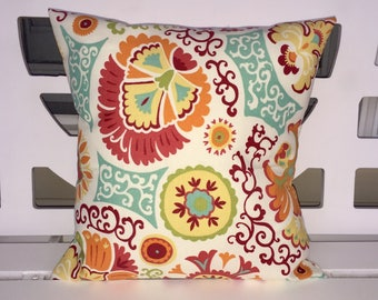 Turquoise, Yellow, Coral 16 x 16 Pillow Cover