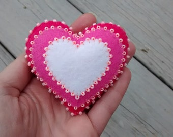 Felt Heart /Felt Ornament/  Valentine Gift / Christmas Ornament/ Handmade