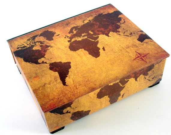 Decorative box world map on vintage leather look desk te gusta este artculo gumiabroncs Image collections