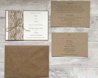 Rustic Hessian & Lace Wedding Invitations