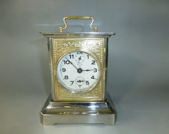 Antique German Mauthe Music Box Alarm Carriage Clock Made in Germany (See Video)