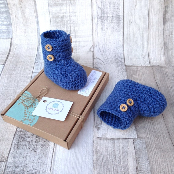 Baby shoes, booties, boys, baby newborn 0-3, button boots, denim blue, crocheted boots, gift boxed, baby shower gift, boy announcement, uk