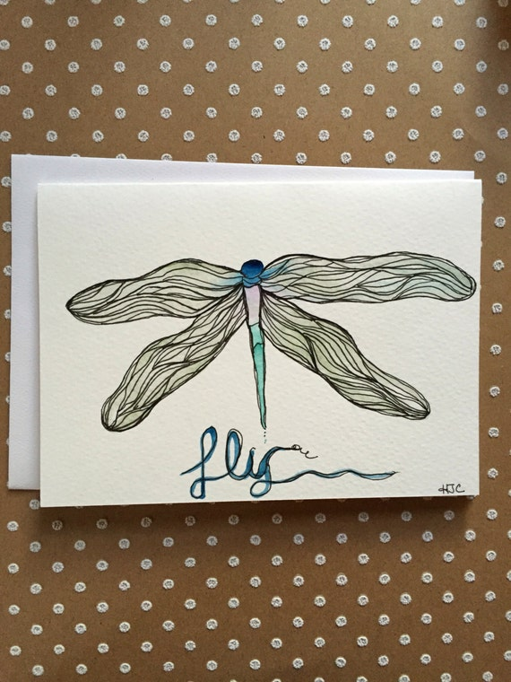 Dragonfly Card,  Watercolor Dragonfly Card, Handmade Dragonfly Card