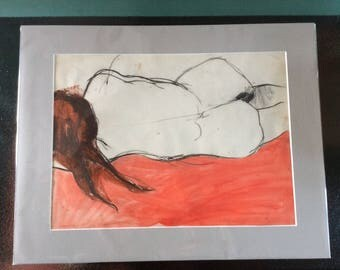 1959 original drawing ..in  charcoal and guache by Judy Neve