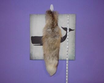 "SALE: 20"" Hazel Fox Tail Real Fur Keychain Key Chain Accessory"