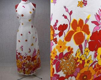 1960's Floral Print Maxi Dress