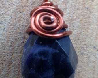 Copper Wrapped Faceted Sodalite Pendant