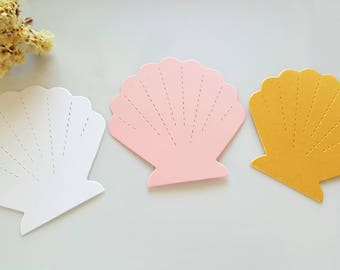 Shell die cuts 20pc Shell tags, Shell place cards, Paper shells,