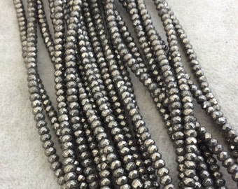 """2.5mm x 4mm Faceted Natural Metallic Pyrite Rondelle/Disc Shaped Beads with 0.8mm Holes - Sold by 15.75"""" Strands (Approximately 145 Beads)"""