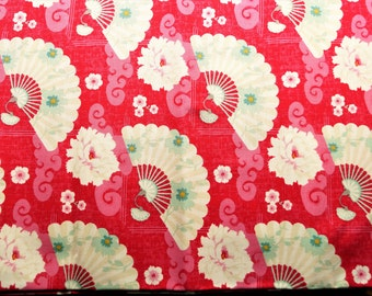 Fabric coupon TILDA Chinese fan red, 50*36,50 cm,printed cotton