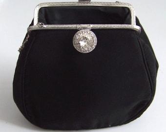 Vintage La Marquise Black Satin Clutch or Purse with mirror