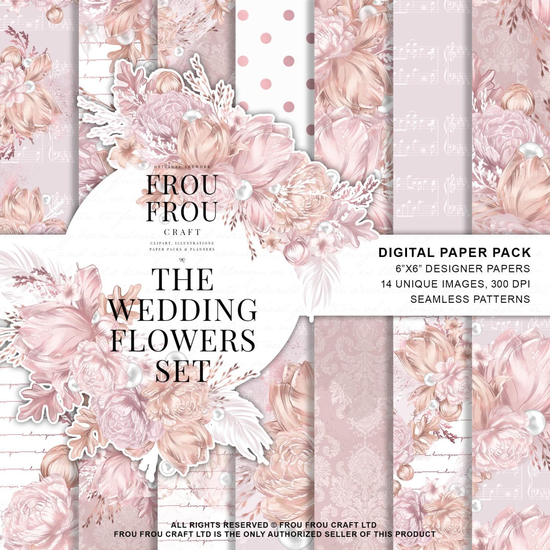 wedding paper pack bride digital paper pack bridal stickers