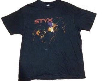 Rare Vintage Styx Kilroy Was Here Concert World Tour 1983 T-Shirt Dennis DeYoung John Panozzo John Curulewski Glen Burtnik Ricky Phillips