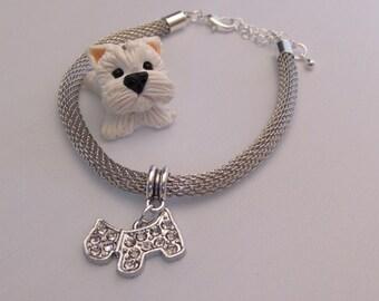 Diamante dog charm bracelet