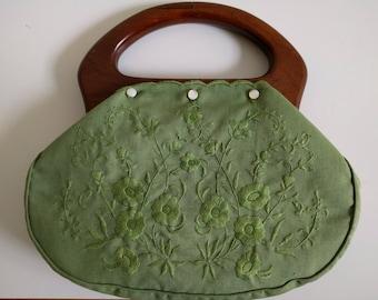 Vintage Green Bermuda Bag/Purse.