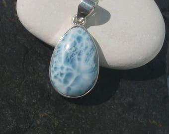 Marbled Larimar Pendant In Sterling Slver 925, Handcrafted Larimar