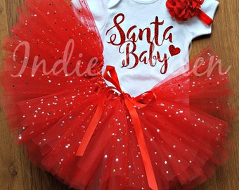 Christmas Tutu Baby Santa Baby girls fancy dress costume babysuit birthday glitter red set photo prop cake smash