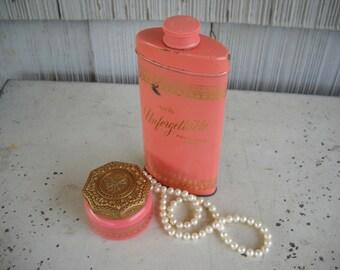 """Avon """"Unforgettable"""" Powder Tin and Jar Dresser Set/Bathroom Vanity/Mother's  Day Gift/Birthday/Bridal Shower/Avon Collectible/Collector"""