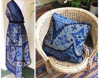 Blue black silver ikat endek cloth Bali Balanese cotton warp silk weft woven Tebganen gringsing geringsing motif diamond medallion fabric