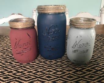 Shabby Chic, Rustic, Distressed Painted Mason Jars