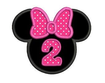 2nd Birthday Mouse Ears Applique Machine Embroidery Design, Mouse Ears Second Birthday Embroidery, Minnie, Instant Download, No: SA535-5