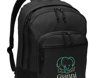 Personalized Back Pack, Baby Elephant, Embroidered Alternative Diaper Bag