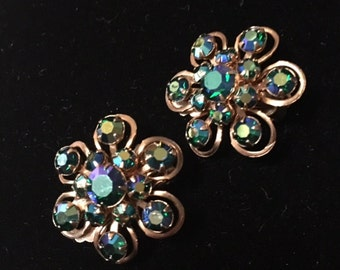 Vintage Aurora Borealis Flower Earrings Clip On faceted goldtone