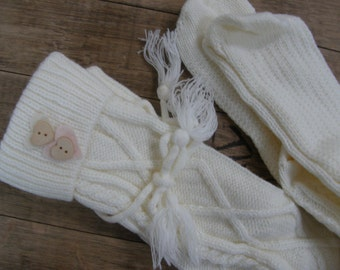SALE, Winter Boot Socks, Leg Warmers, Boot Topper, Knitted Boot Socks, Women's Accessories, Ivory