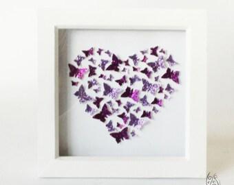 "Butterfly Heart Flutter Picture Frame Purple 7x7"""