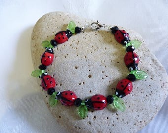 Glass Ladybird & Leaf Bracelet