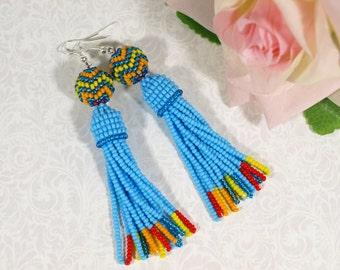 Seed bead earring Multicolor earring Blue fringe earring Long tassel earring Bead tassel earring Long dangle earring Beaded jewelry