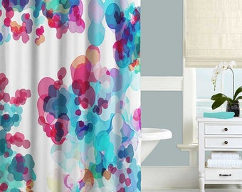 Abstract Shower Curtain Watercolor Shower Curtain Turquoise Pink Blue Purple Bath Curtain Bathroom Decor, Bathroom Curtain Designer Curtains