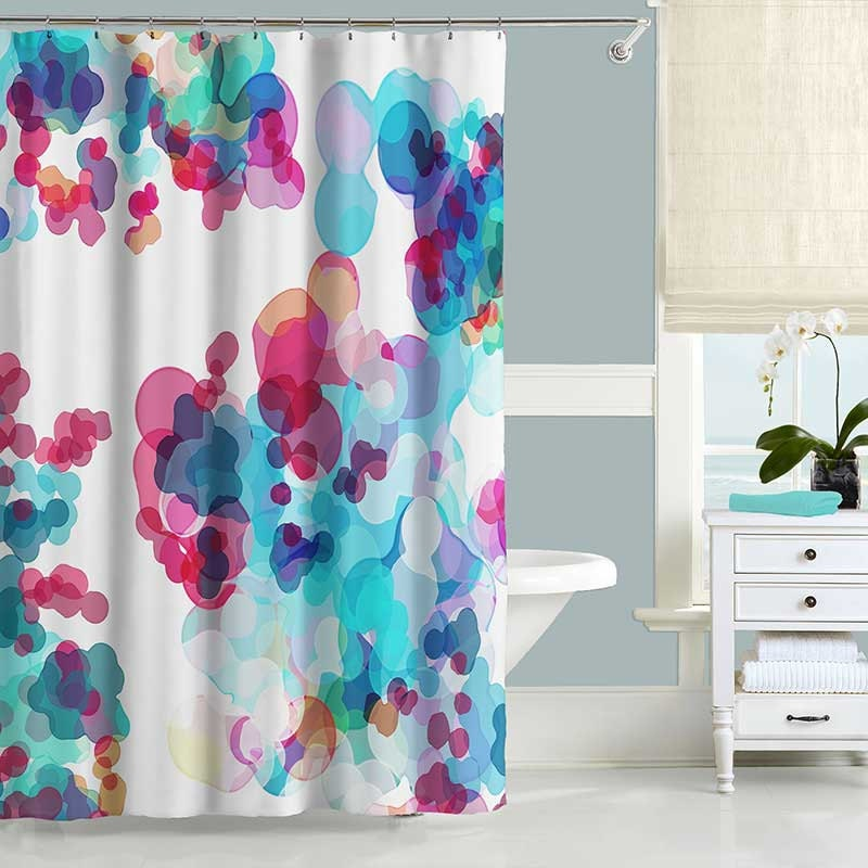 Shower curtain for pink and blue bathroom curtain for Bathroom decor pink